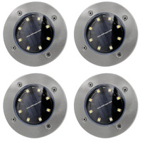ICOCO New 4pcs Set Solar Power Panel Lawn Lamps Bright Light LED Energy Saving Waterproof For