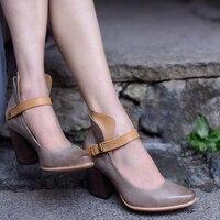 Artmu/оригинальные женские туфли на высоком каблуке с острым носком в стиле ретро, элегантные туфли лодочки из натуральной кожи с пряжкой на т