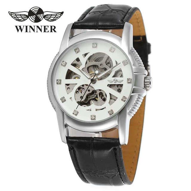 57bceed9edea GANADOR Conciso Hombres Correa de Cuero Reloj Mecánico Automático de Lujo  de Los Rhinestones Decoración Esqueleto