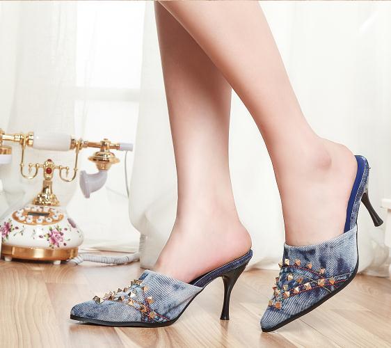 The new fashion sexy sandals shoes 2017 Retro metal decoration denim stiletto heel baotou slippers denim zipper hollow worn stiletto womens sandals
