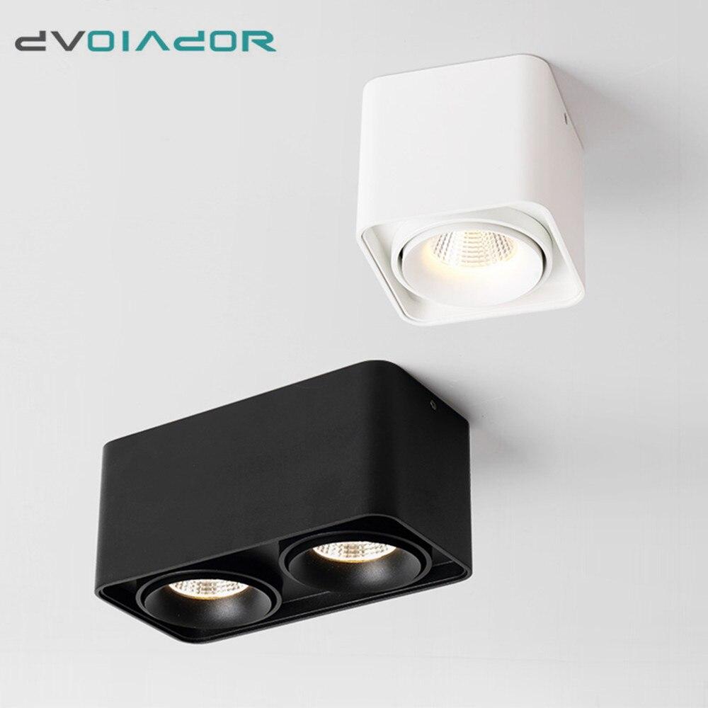 Quadrado Pode Ser Escurecido LED Wall Montado Downlight 10W 12W 20W COB luz Do Ponto Único/Duplo Cabeça Teto montagem em Superfície lâmpada Para Baixo a luz