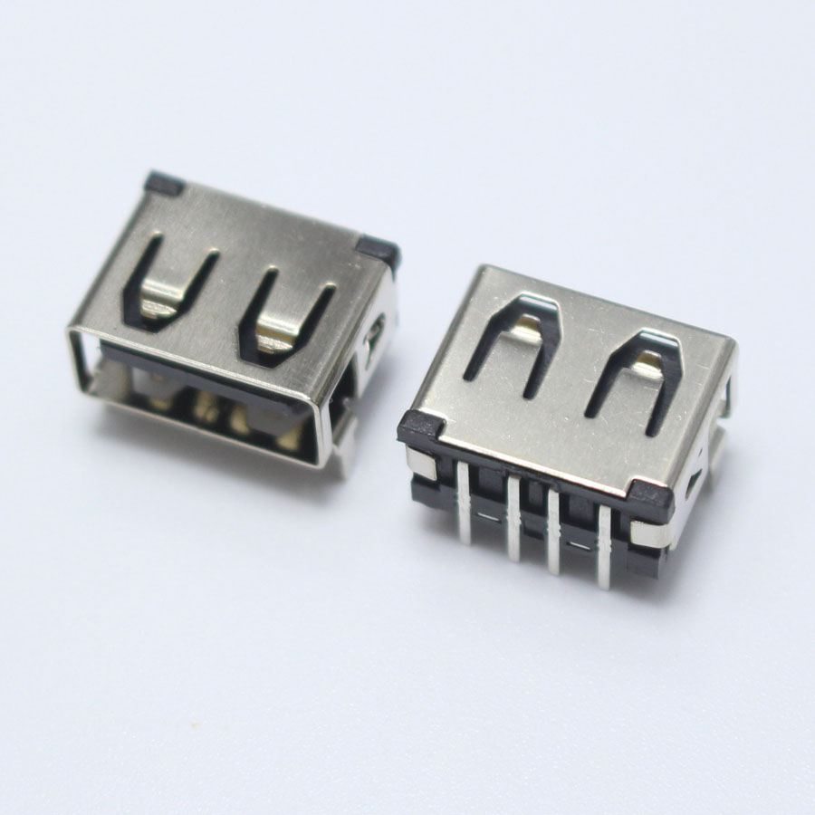 10 Pieces of USB Type A Female Socket 90 Degree Jack Connector Socket
