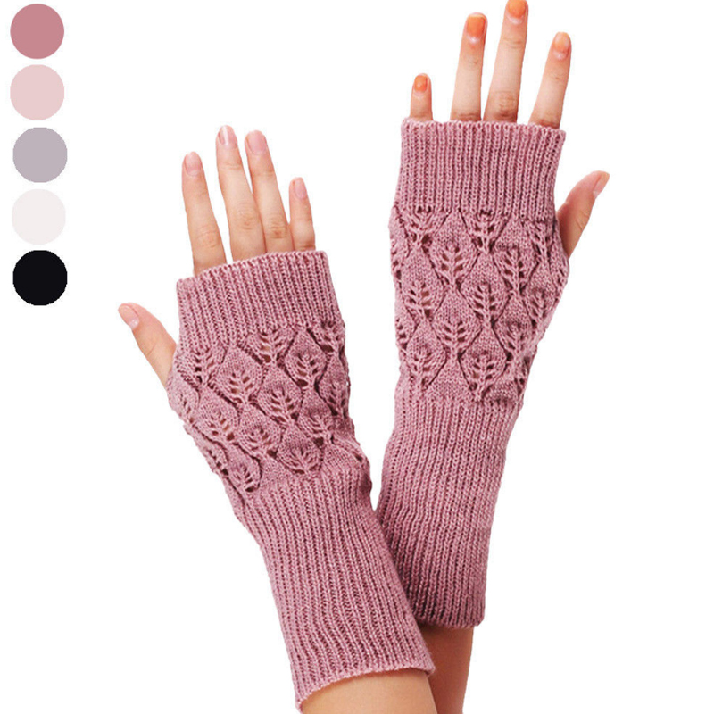 Warm Knitted Fingerless Gloves Hot Hollow Out Leaves Long Section Winter Long Fingerless Knitting Wool Mittens