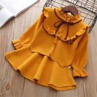 2019 Nre Autumn Winter girls Sweater set Kids Cloths Children outfits Shirt + skirt Sweater suit for girls knitt
