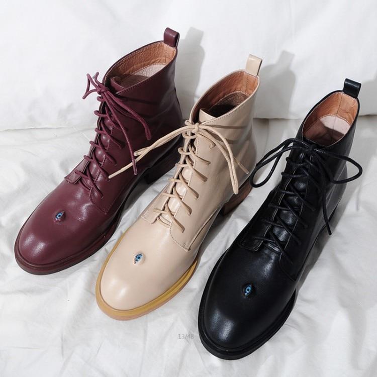 MLJUESE 2018 المرأة جلد البقر حذاء من الجلد الدانتيل يصل جولة تو عالية الكعب أسود اللون الخريف الربيع أحذية ركوب الخيل حجم 33  43-في أحذية الكاحل من أحذية على  مجموعة 1