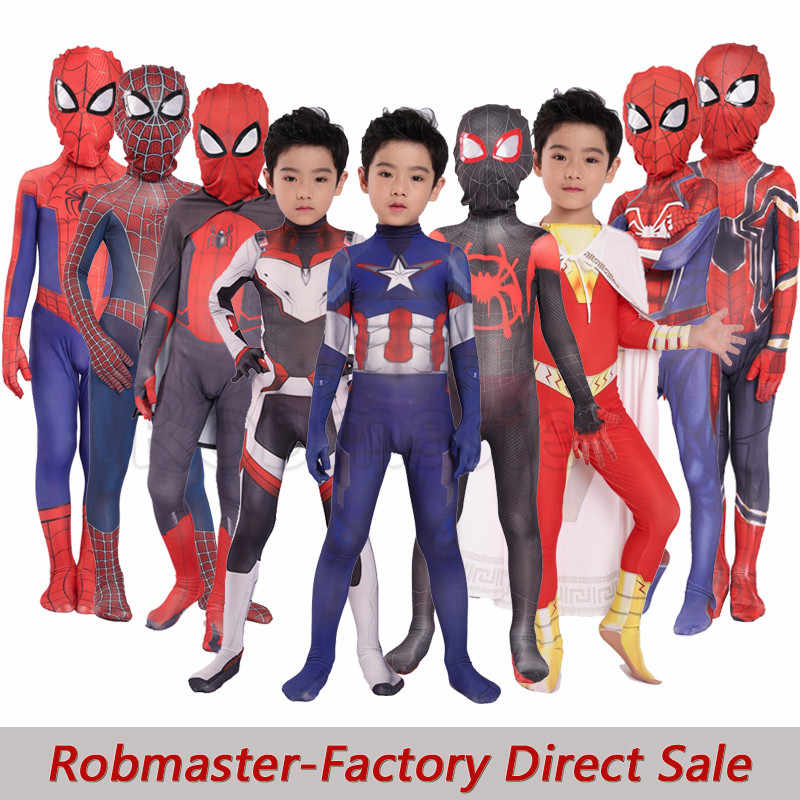 Kid Spiderman Kostuum Halloween Bodysuit Superheld Thema Party Spiderman Avengers Captain America Quantum Rijk Pakken Voor Kinderen