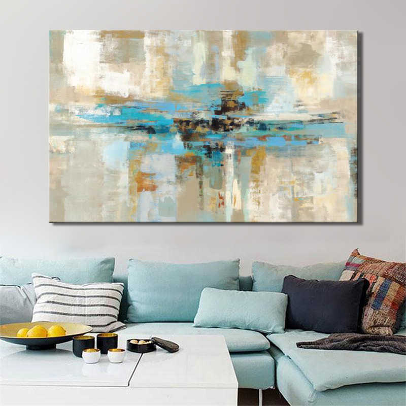 Modern Oil Painting Posters and Prints Wall Art Paintings On Canvas Home Decoration Light Blue Abstarct Pictures For Living Room