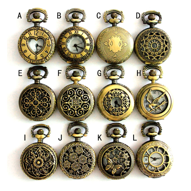 (APW002) Assorted 12 designs Vintage Bronze steampunk Pocket Watch Necklace watch pendant,Whoesale,Xmas party gift. | Fotoflaco.net