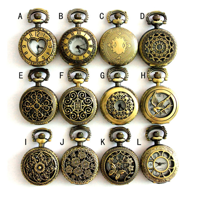 (APW002) Assorted 12 designs Vintage Bronze steampunk Pocket Watch Necklace watc