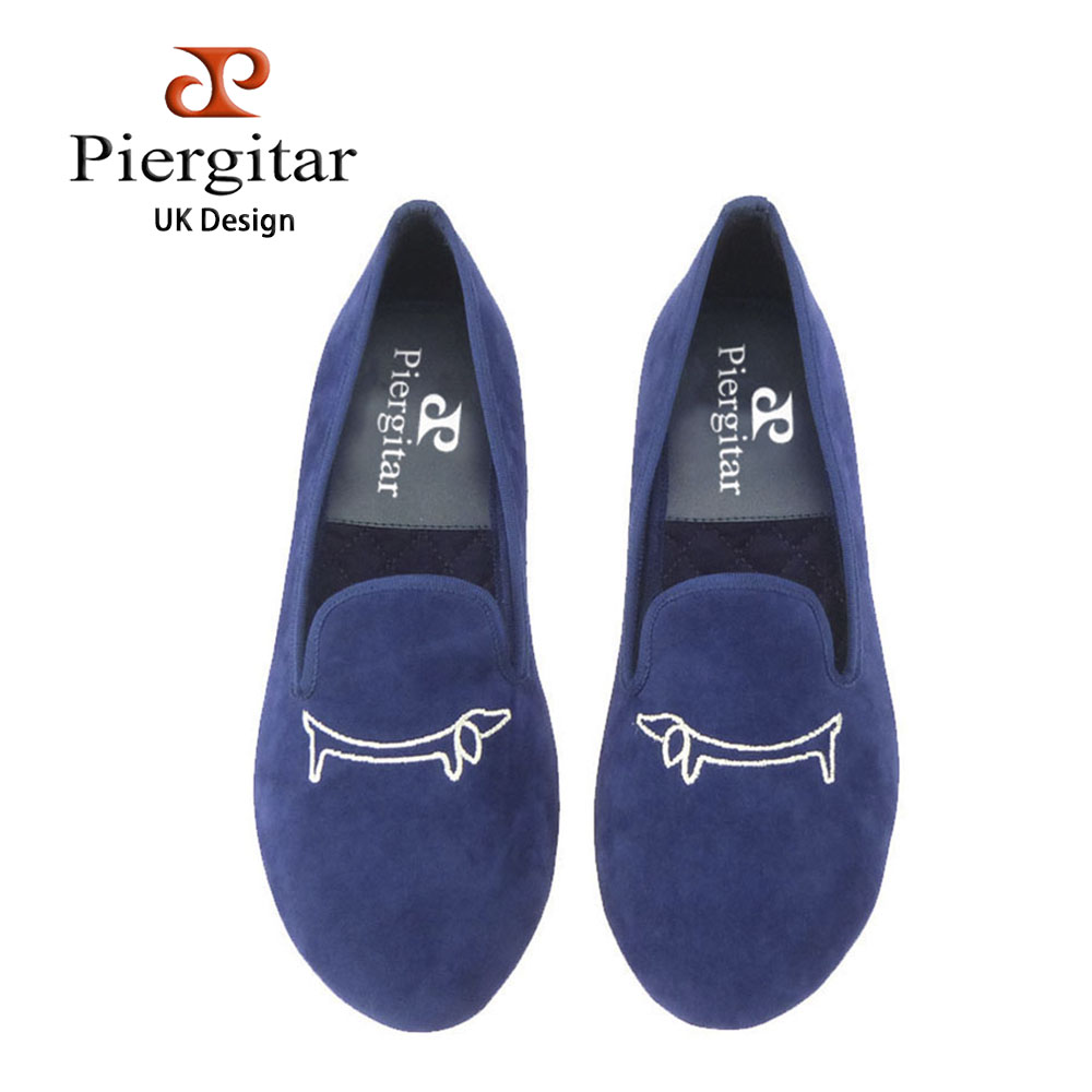 Piergitar Handcraft women velvet shoes with symmetry pattern embroidery Fashion party female dress loafers women casual flats shattered symmetry