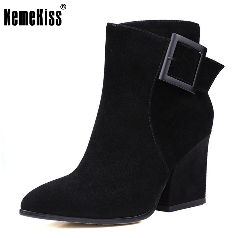 KemeKiss Ladies Real Leather Med Heel Mid Calf Boots Female Pointed Toe Zip Shoes Women Winter Warm Botas Footwear Size 33-41 double buckle cross straps mid calf boots