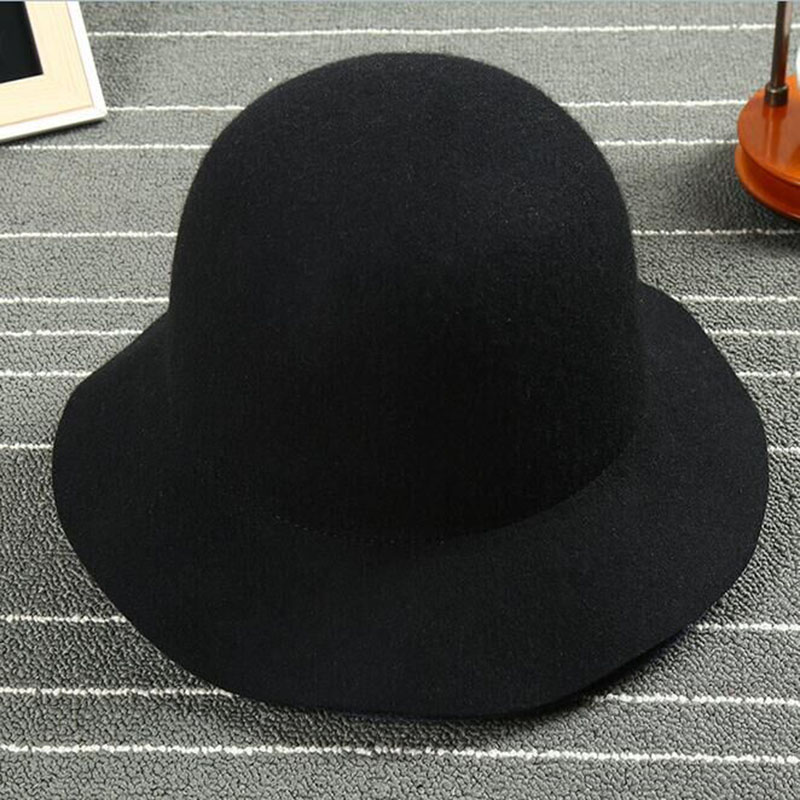 56f9c42de04 Wool Lady Wide Brim Fedora Hat Wool Women Chapeu Fedora Trilby Jazz Classic Vintage  Wool Felt Hat Winter fedoras -in Sun Hats from Women s Clothing   ...
