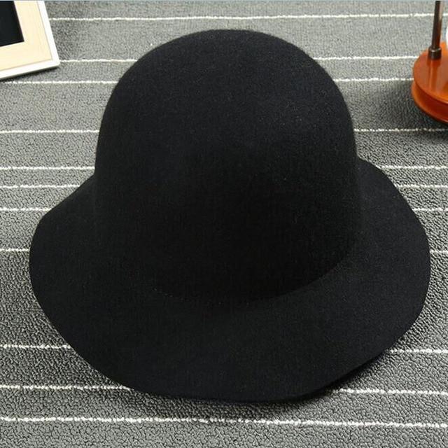 04845f1cf72 Wool Lady Wide Brim Fedora Hat Wool Women Chapeu Fedora Trilby Jazz Classic  Vintage Wool Felt