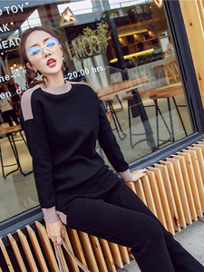 Image 5 - Women Winter Woolen And Cashmere Pattern Knitted Warm Suit O Neck Sweater+Pants Tracksuit Two Piece Set Female Sporting Suits