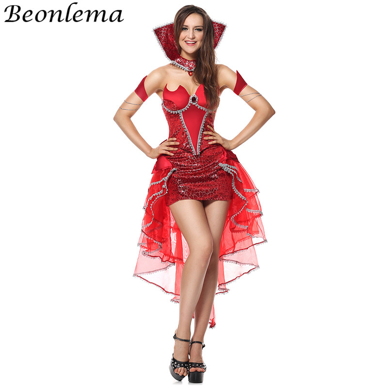 Beonlema Halloween Devil Cosplay Disfraz Red Dress Strapless Low Cut Sexy Top Mesh Skirt Women Carnival Role Play Costumes