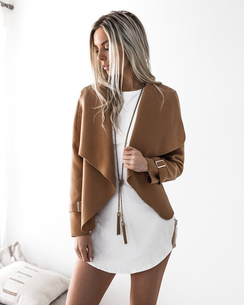 Women   Basic     Jacket   Coats Autumn Winter New Femme Outwear Lapel Long Sleeve High Quality Casual Loose Coat Tops