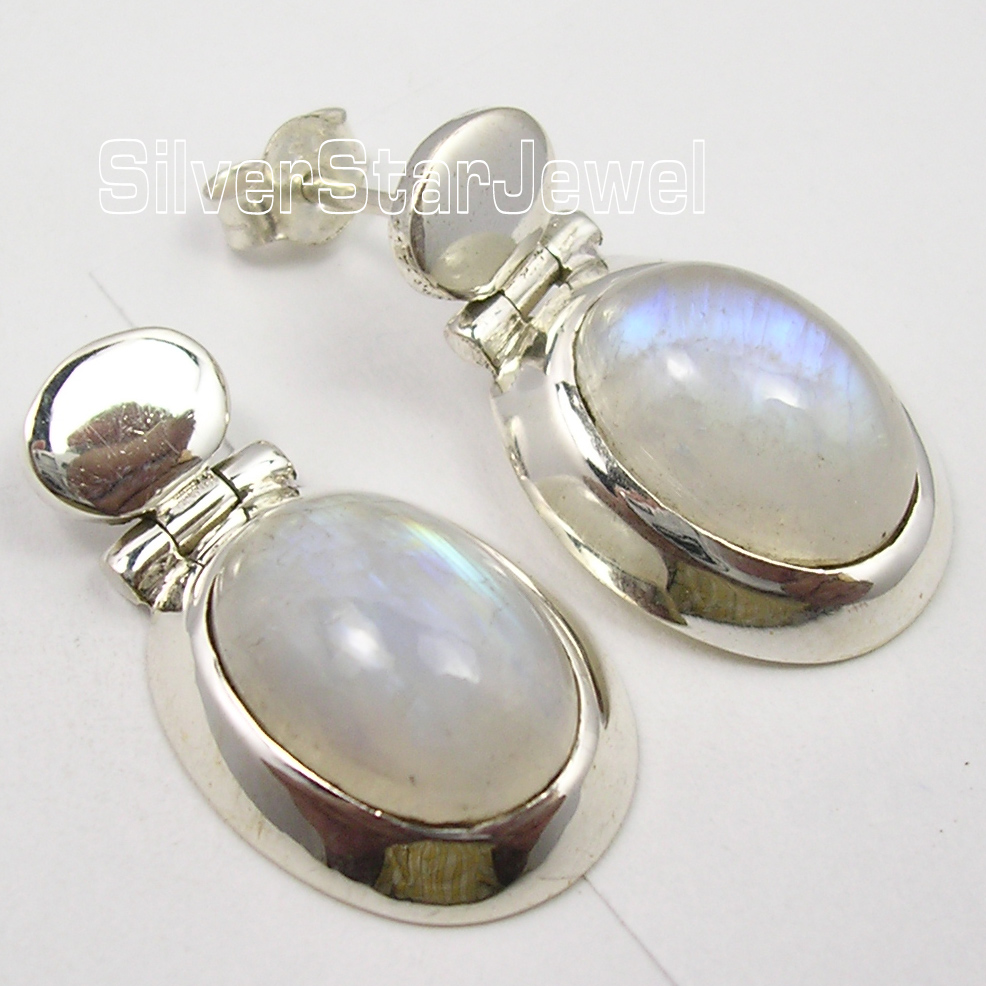 Silver MOONSTONE LARGE CHUNKY s Earrings 2.6CM1 Pair of Earring pair of chic women s smooth round shape design earrings