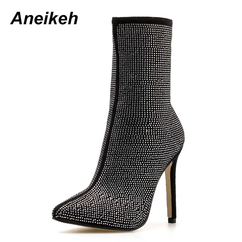 a2748e770e Aneikeh 2018 New Autumn Winter Glitter Shoes Woman Chelsea Boots Sexy  Pointed Toe 11cm Thin High Heels Ankle Boots Women Silver