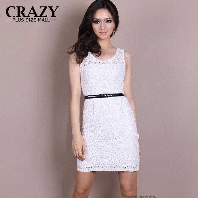 2015 New Summer Women Plus Size Clothing 6xl 5xl 4xl Lace Tank Dress