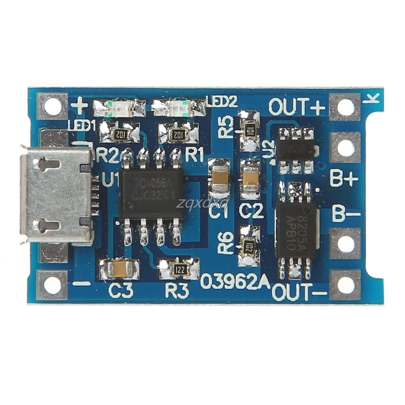 Lithium Battery Charge+Protection 2-In-1 Circuit Board 5V 1A 2A Micro USB Module Nov01 Drop Ship