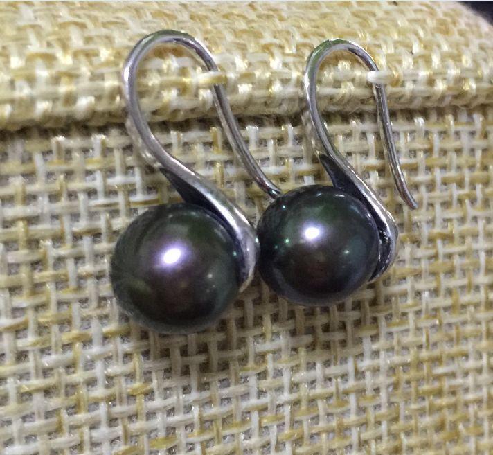 Charme paire de 9-10mm du sud noir vert perle stud 925 s
