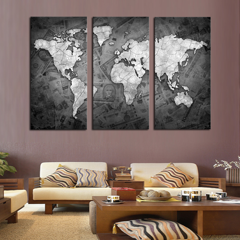 Frameless PCS Wall Art Classical Grey Color Modern World Map - Grey world map canvas