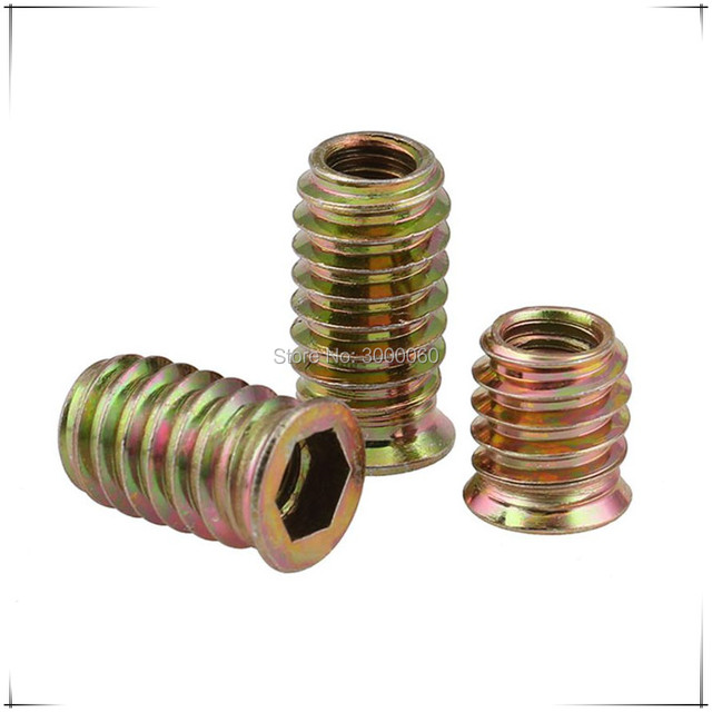 US $28 99 |M6 Zinc Plated Harden Steel Hex Socket Head Inner Outer Threaded  Insert Nut For Wood Furniture -in Nuts from Home Improvement on