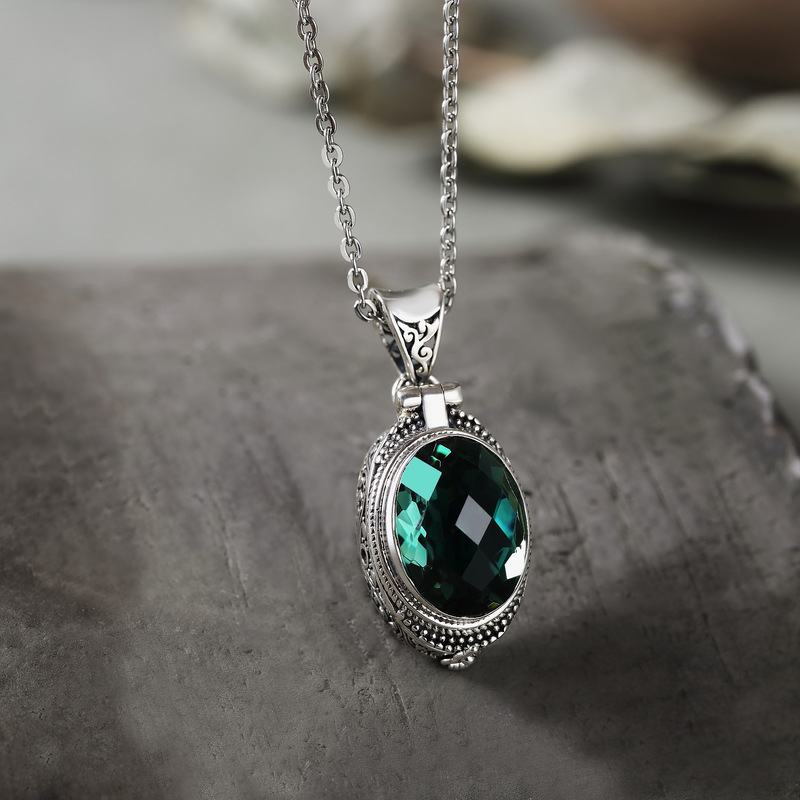 Real Pure 925 Sterling Silver Emerald Pendant For Women With Gemstones Personalized Openable Crystal Pendant Bisuteria