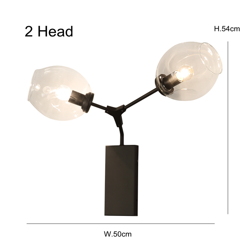 Modern Wall Lamp 2 head Glass Sconce Luminaire black gold metal arm For Bathroom Bedroom Light E27 Base Home Lighting Lamparas