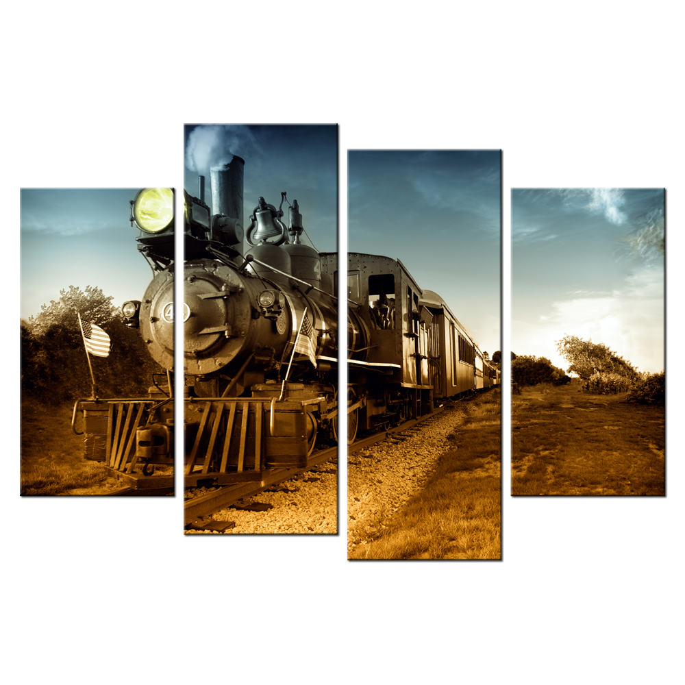 popular wall train set buy cheap wall train set lots from china contemporary wall art steam train giclee canvas prints home decor for bedroom modern painting mural poster