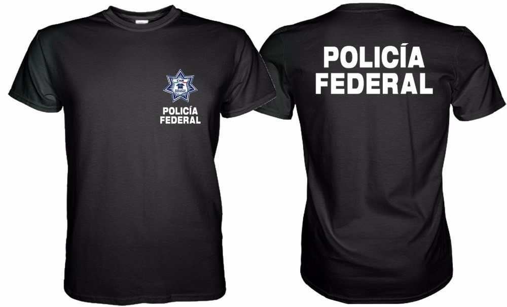 2018 New Arrival Brand-Clothing Fashion Men Tee Shirts Round Neck New Mexico Police Policia Federal T-Shirt graphic T shirt