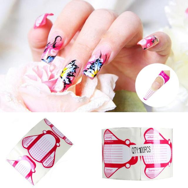 100pcs New Nail Art Tips Extension Forms Guide Rose Insert Shaped ...