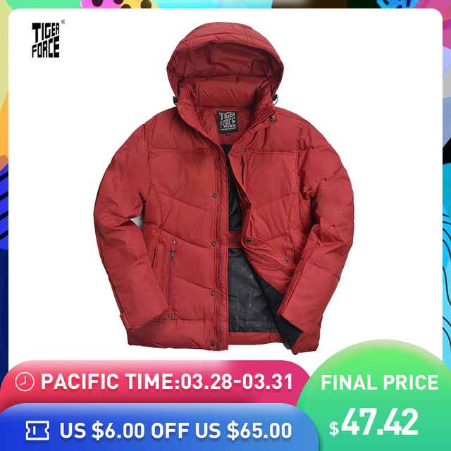 7a7db22cec5 US $74.72 48% OFF|TIGER FORCE Hot Sale Men Down Jacket 70%White Duck Down  Winter Jacket Down Coat With Hood Solid Zipper Free Shipping D 265-in Down  ...