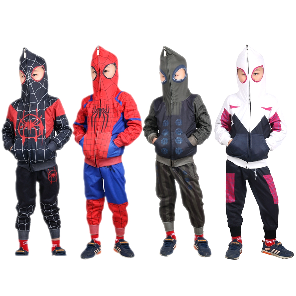 Gwen Stacy Costume Kids Spider-Man Into the Spider-Verse Miles Morales Cosplay Costume Boys Girls Spider Hoodies Jacket Pant