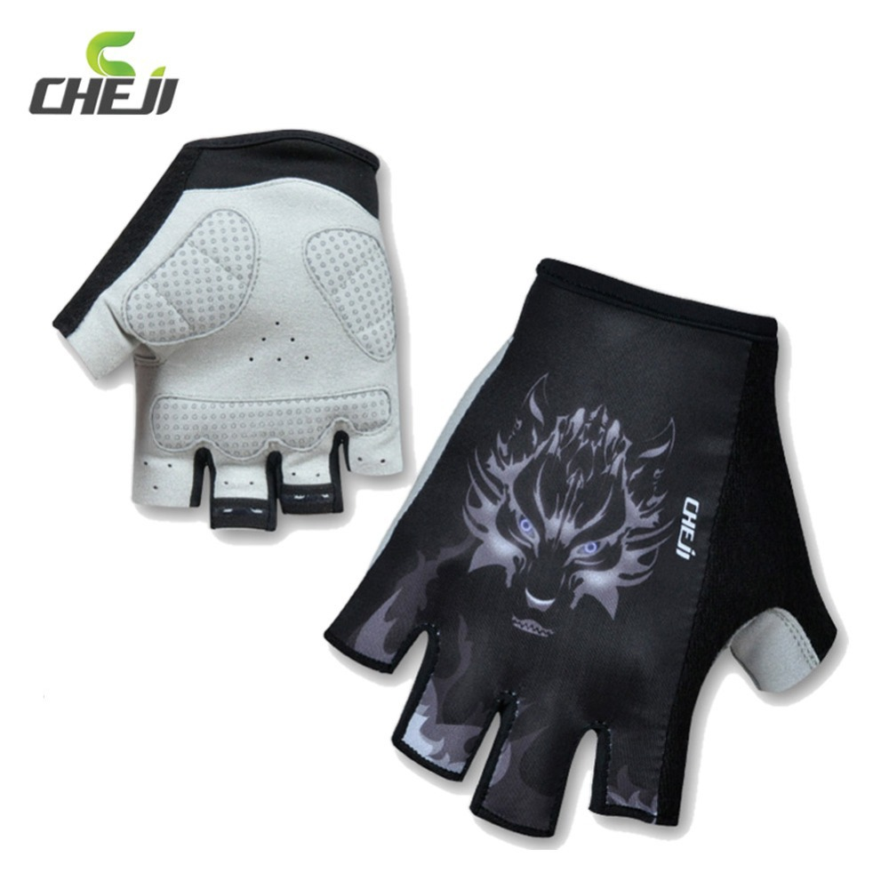 Motorcycle gloves price - Cheji Brand Men Cycling Gloves Wolf Pattern Mountain Bike Mtb Gloves Motorcycle Motocross Glove Half Finger