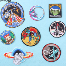 ZOTOONE UFO Astronaut Space Alien Patches on Clothes Embroidered Iron for Clothing DIY Stripes Badges Applications E