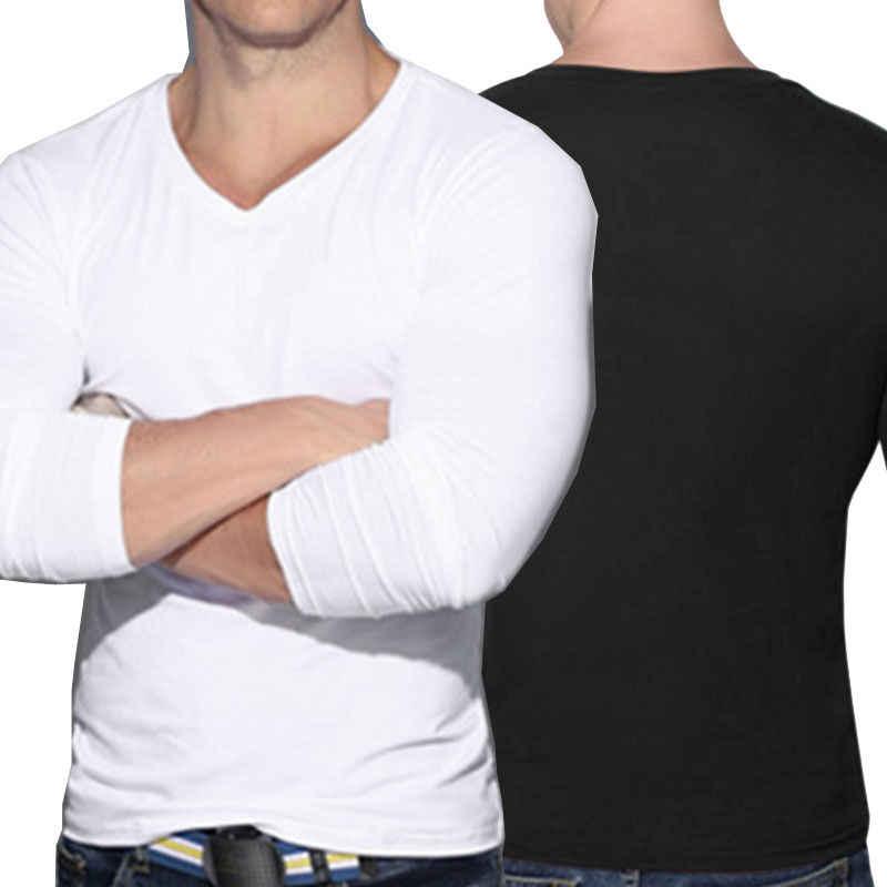 חדש אופנה גברים שרירים ארוך שרוול Slim חולצות O-צוואר מקרית סקיני Fit חולצה טי למעלה Stylsh Mens בגדים