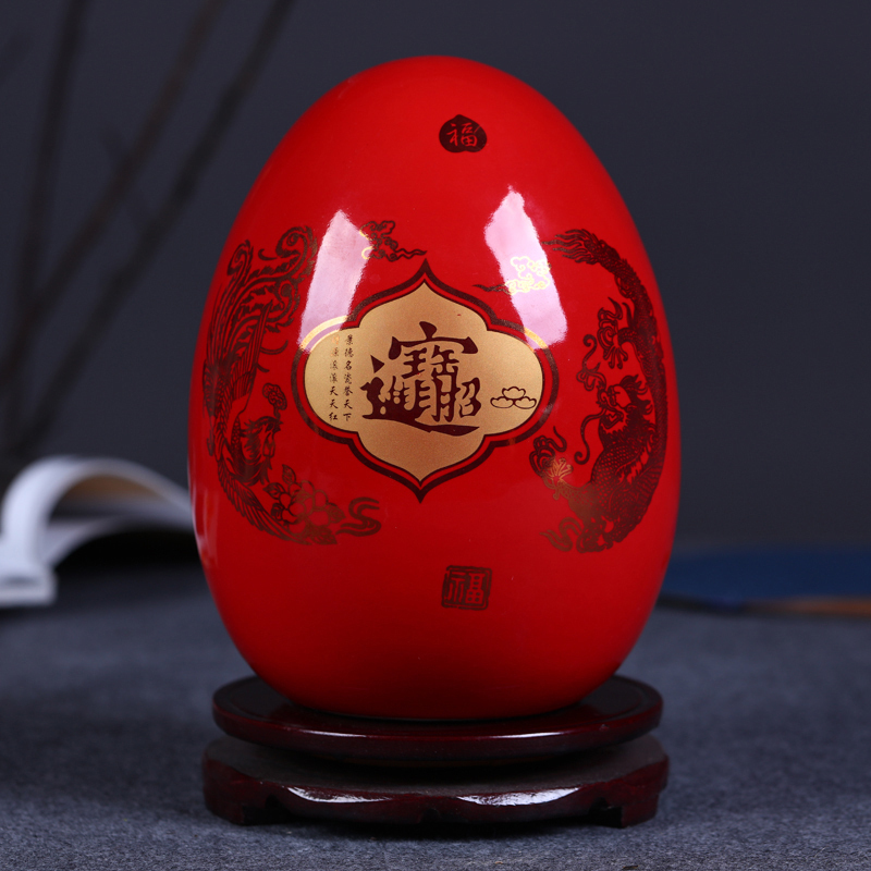 Jingdezhen ceramics Chinese Fu egg vase ornaments room office lucky draw Chinese decorative ornamentsJingdezhen ceramics Chinese Fu egg vase ornaments room office lucky draw Chinese decorative ornaments