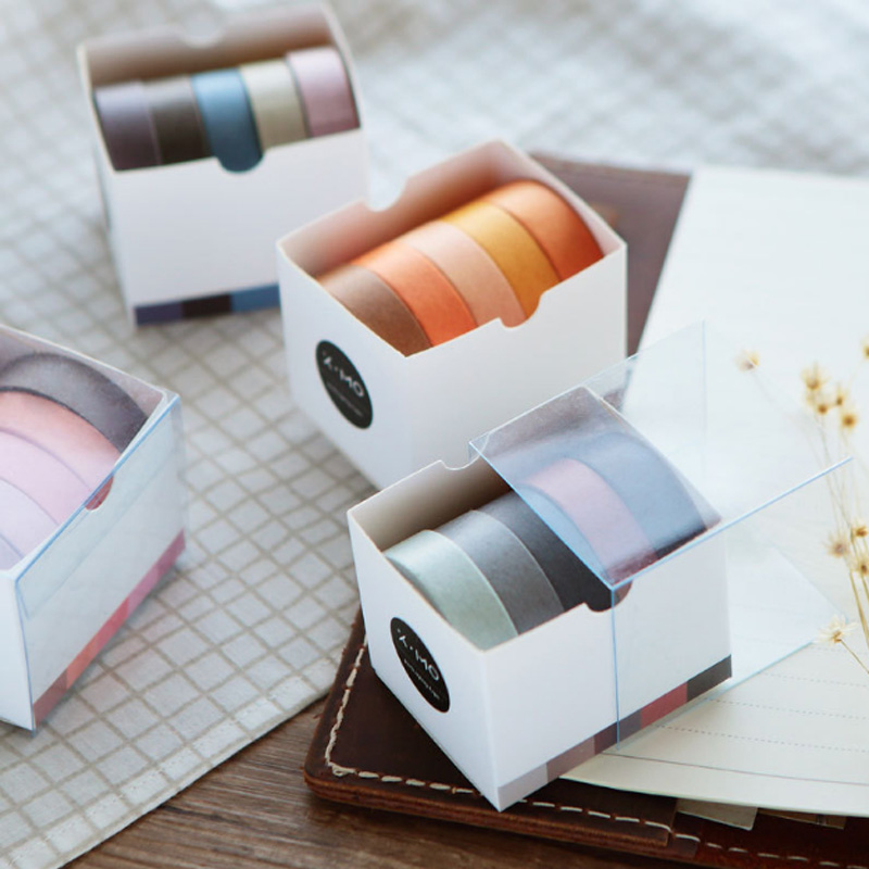 5X 10mm*5M Solid color paper tape DIY decorative scrapbook masking tape washi tape stationery office adhesive tape large size 200mm 5m old newspaper poste letter pattern japanese washi decorative adhesive tape diy masking paper tape sticker