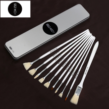 BGLN 10Pcs/set Artist Oil Painting Brush With Exquisite Box Bristle Solid Wood Pole Gouache Acrylic Paint Brush Art Supplies