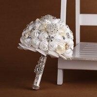 El yapımı Yüksek Kaliteli Düğün Buket Gelin Gelin Yapay Ipek Gül Çiçek Fildişi Beyaz Siyah mor Pembe Renk Aksesuarları