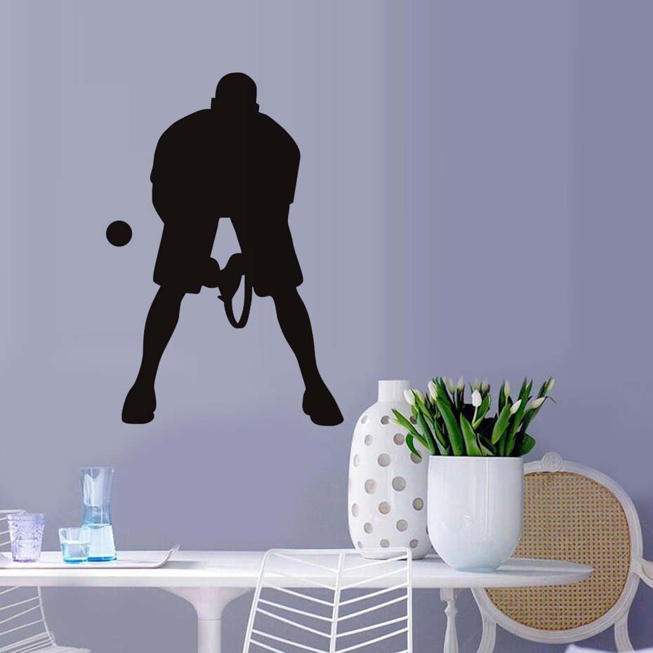 Vinyl Art Wall Sticker Living Room Male Tennis Player Wall Decal Diy Removable Home Decor Living Room Wall Art Graphic Decals