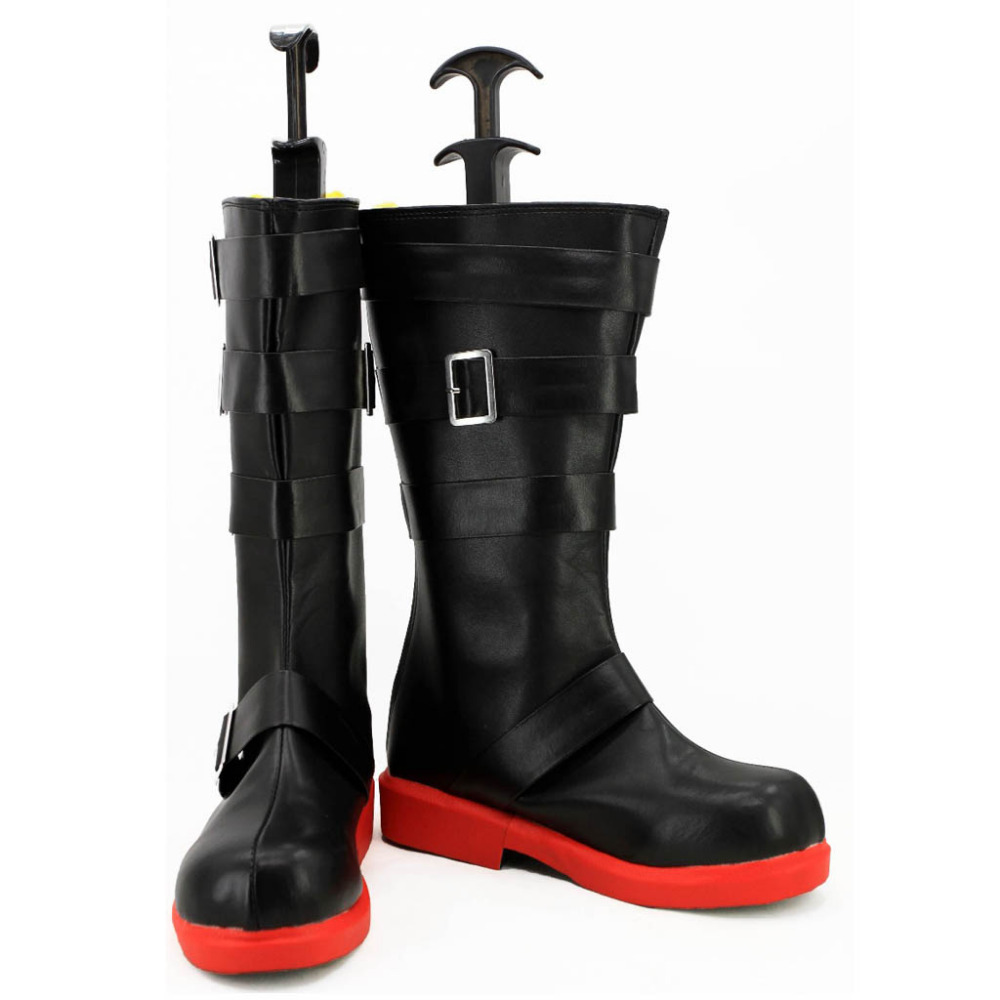 RWBY Cosplay Shoes Ruby Rose Boots Shoes Adult Women's Black Party Calf Buckle Boots