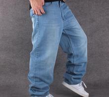 Мужчины Голубой Hip Hop Мешковатые Джинсы С Вышивкой Буквы Новый 2017 Мужская Скейтбордист Отбеленные Джинсовые Брюки Свободные Хип-Хоп Джинсы