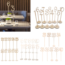 30 Pieces Unfinished Wooden Table Number 1  30 Signs Desk Decoration for Wedding Birthday Anniversary Party Home
