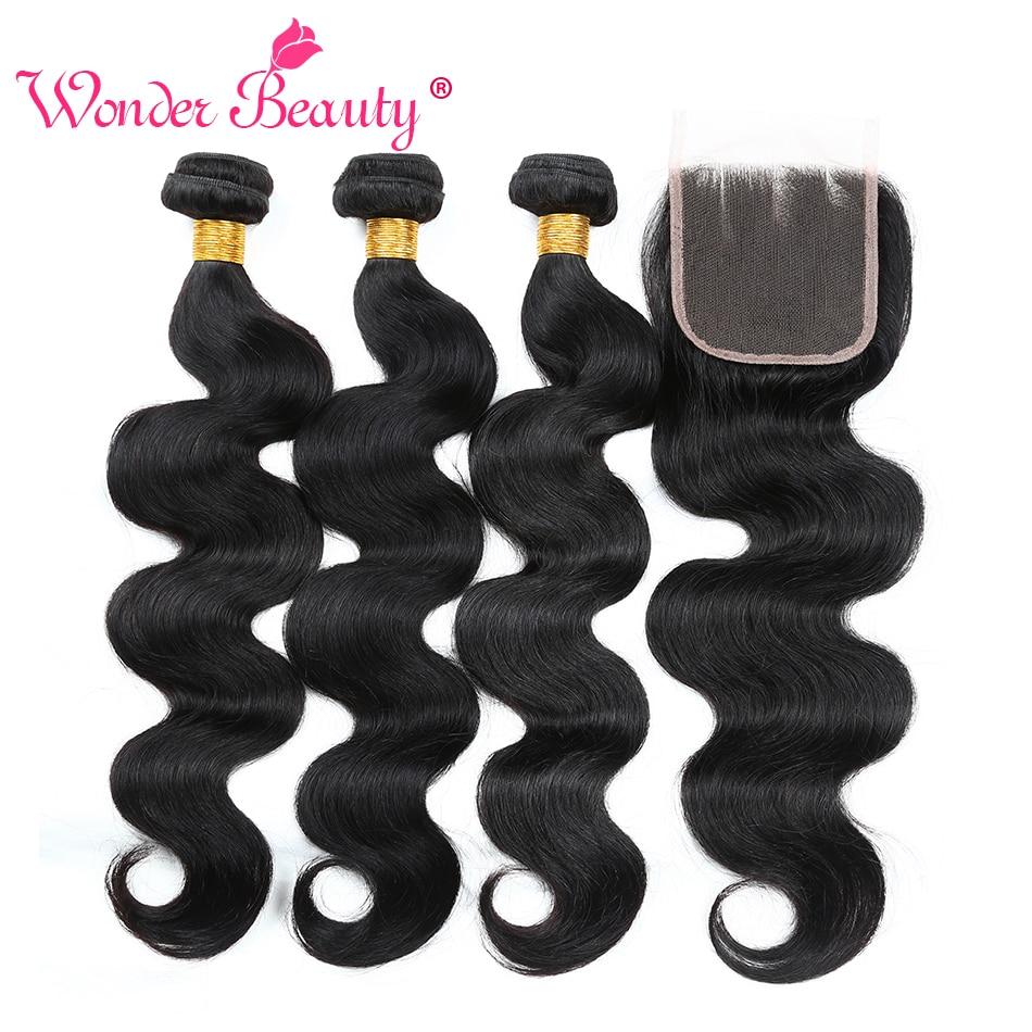 Wonder Beauty Malaysia Body Wave Bundle erbjudanden nonremy - Mänskligt hår (svart)