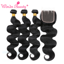 Wonder Beauty Malaysia Body Wave Bundle reparte paquetes de Hair Extension 3 no remy con paquetes de cabello humano con cierre de cordones y cierre