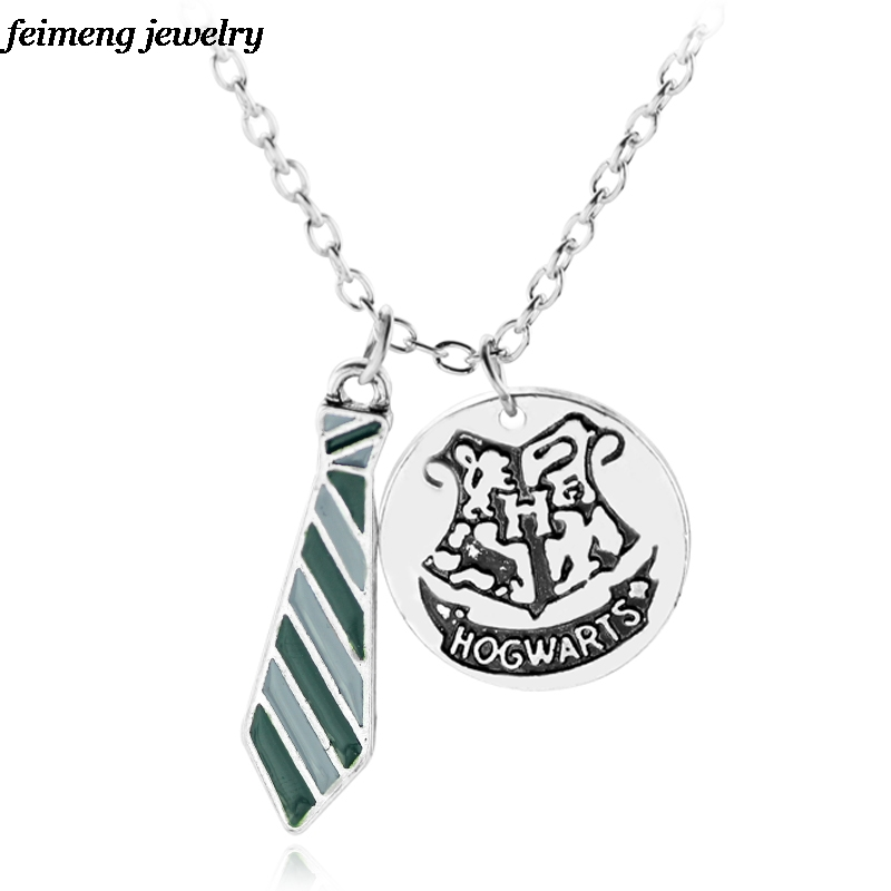 Movie Magic School Hogwarts tie Pendant&Necklace DIY 4 Colors Inspired Charm Jewelry for Fans Souvenir