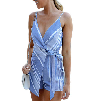 Sexy Deep V Neck Bandage Rompers Striped Bodysuit Womens Wrap Jumpsuit Vogue Short Overalls For Women Backless Overalls