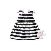 2018 Fashion New Baby Girls Sleeveless Dress Summer Toddler Girl Striped Backless Dress With Bow Kids